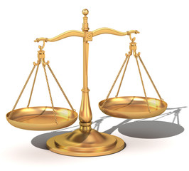 3d gold balance symbol of the scales of justice