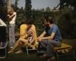 family in the garden vintage