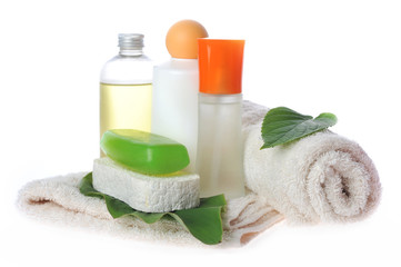 towel and accessories to bathing