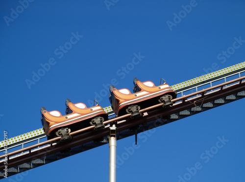 empty rollercoaster climbing up