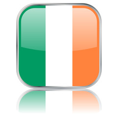 Irish Square Flag Button (vector with reflection)