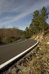 Mountain road with many curves