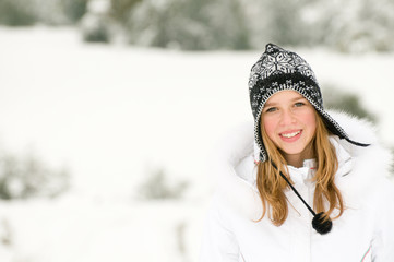 Beautiful girl winter portrait