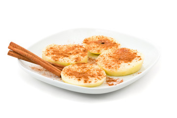 Apple slice with cinnamon