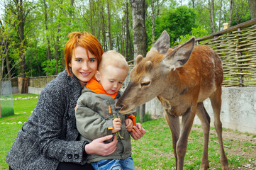 Mother and son pet a deer