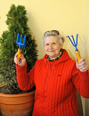 Cheerful granny with sunglasses grows bush