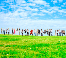 People in a field