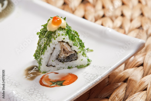 Bamboo roll with caviar