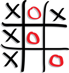 play the game tic tac toe with red and black sign