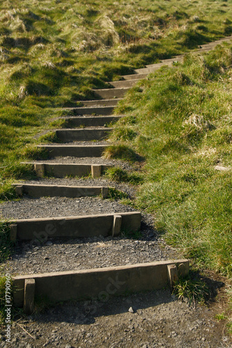 Steps leading up the grassy hill