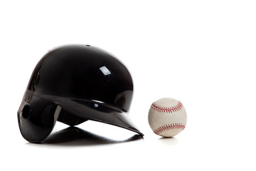 Blue baseball helmet and baseball on a white background