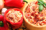 Hungarian delicacy, stuffed red pepper poster