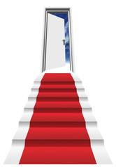 3D red carpet on stairs in front of a o door pened to a blue sky