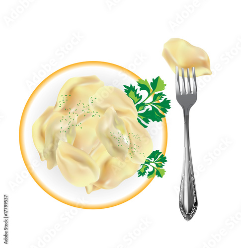 dumplings with greens on a plate and fork. Vector
