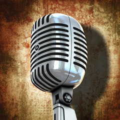 retro microphone with grunge background