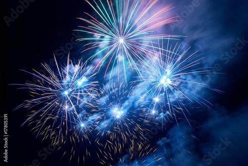 Foto op Canvas Hemel Fireworks, salute.