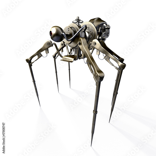 Isolated 3d render of steampunk spider