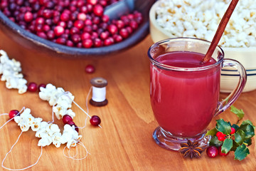Cranberry Drink with Strung Cranberries and Popcorn