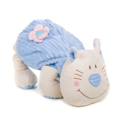 stuffed toy cat over white background