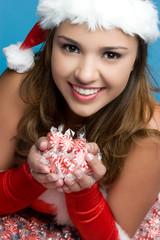 Girl Holding Christmas Candy