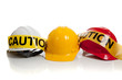 Various hard hats on a white background