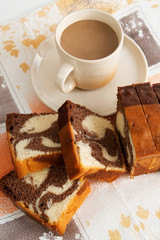 Cake with milk coffee
