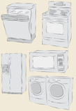 Messy hand drawn home appliances poster