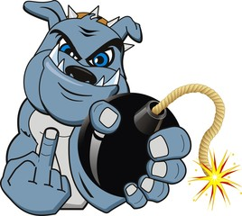 A Cartoon bomb bulldog. Vector