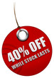 40% off sale tag
