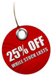 25% off sale tag