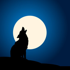 wolf barking at moon