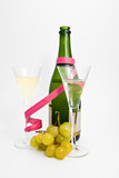 Two champagne glasses with grape  and providing poster