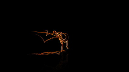 Mannequin Karate with Light strokes,Alpha Channel