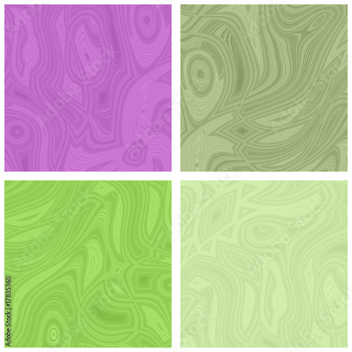 4 Patterned Squares - Green and Purple