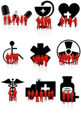 Illustration of medical icons and people