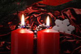 two candles - christmas background - weihnachten