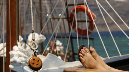 Woman sunbathing on the yacht