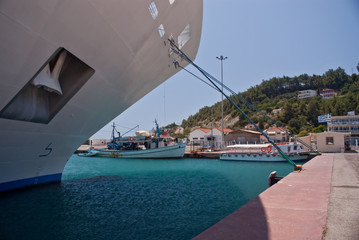 Bow of cruise ship moored in the Greek islands