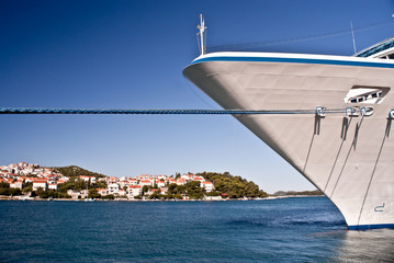Bow of cruise ship moored at Dubrovnik