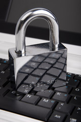 The padlock on the laptop keyboard