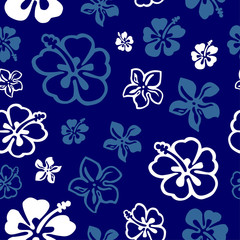 Squared seamless flower pattern colored in white and blue