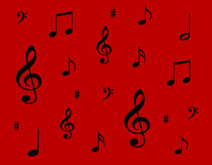 Black Musical Notes on a Red Background