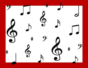 Musical Notes on white background with red border.