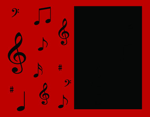 Musical Notes On Red Background with Black Panel