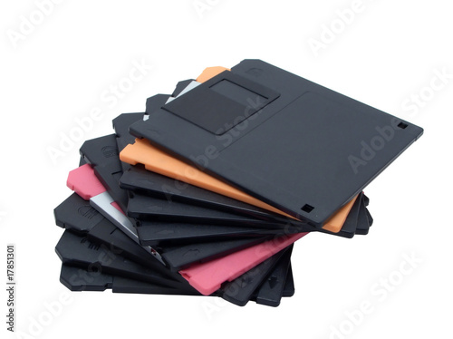 Pile of diskettes on white