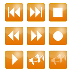musik player buttons orange