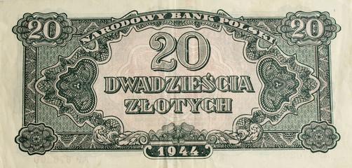 Old banknote twenty zloty
