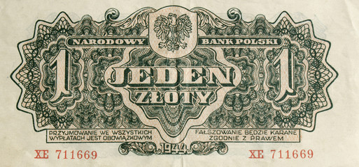Old banknote one zloty