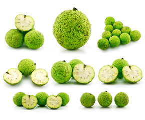 Set of Osage Oranges (Maclura) Isolated on White