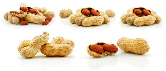 Set of Ripe Dried Peanut Fruits Isolated on White